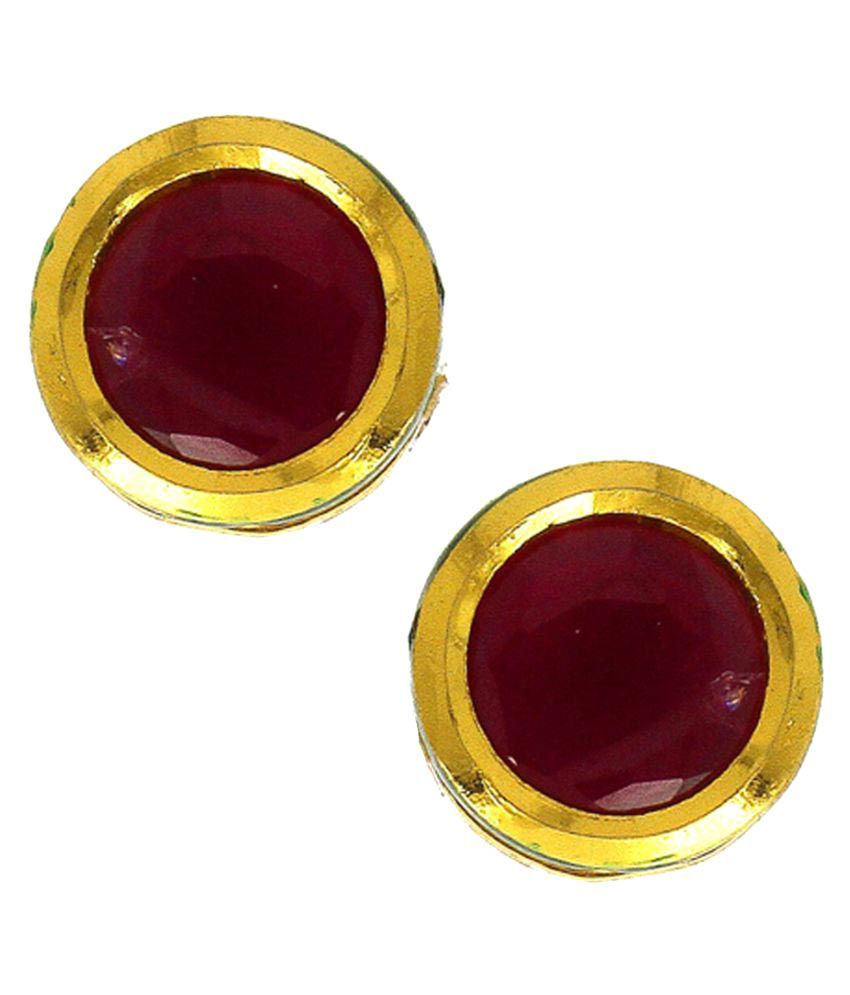 Anuradha Art Golden Finish Simple Stylish Red Colour Studs Earrings For Women/Girls
