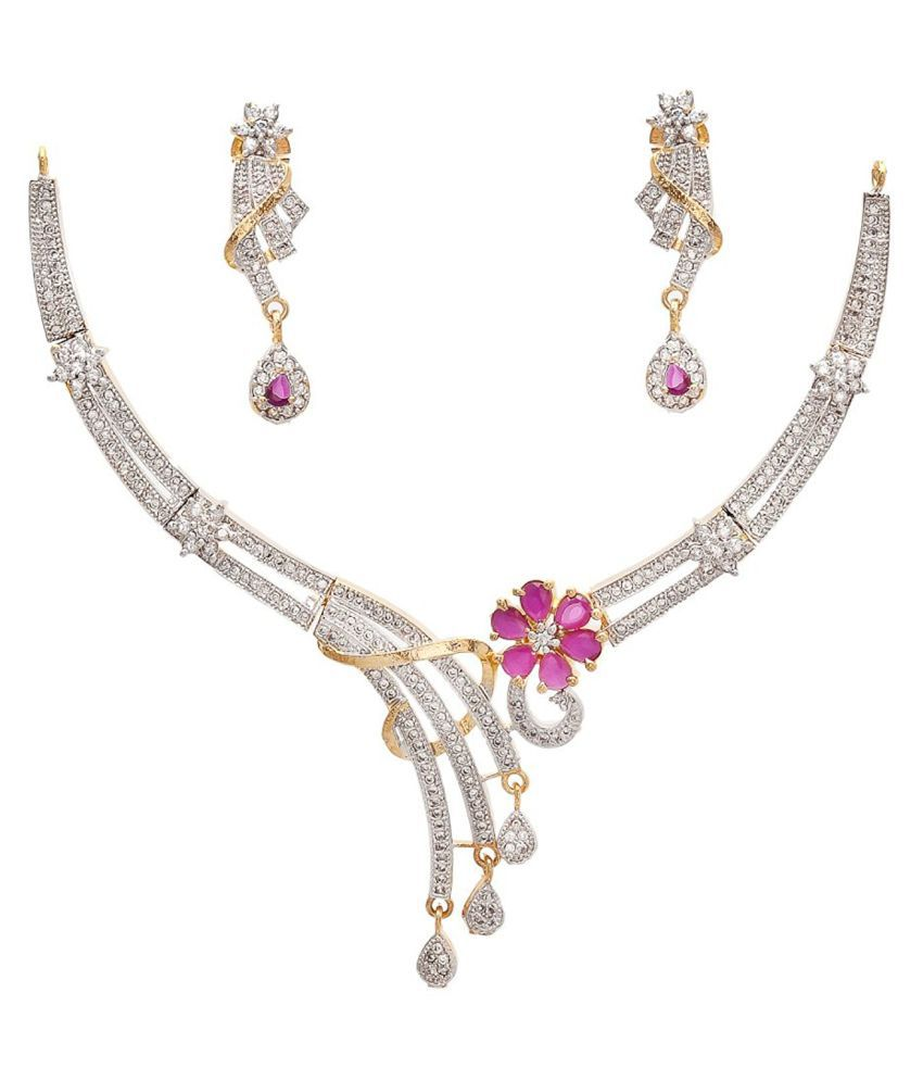 OS Jewellers Collection White Alloy Cz Necklace Set