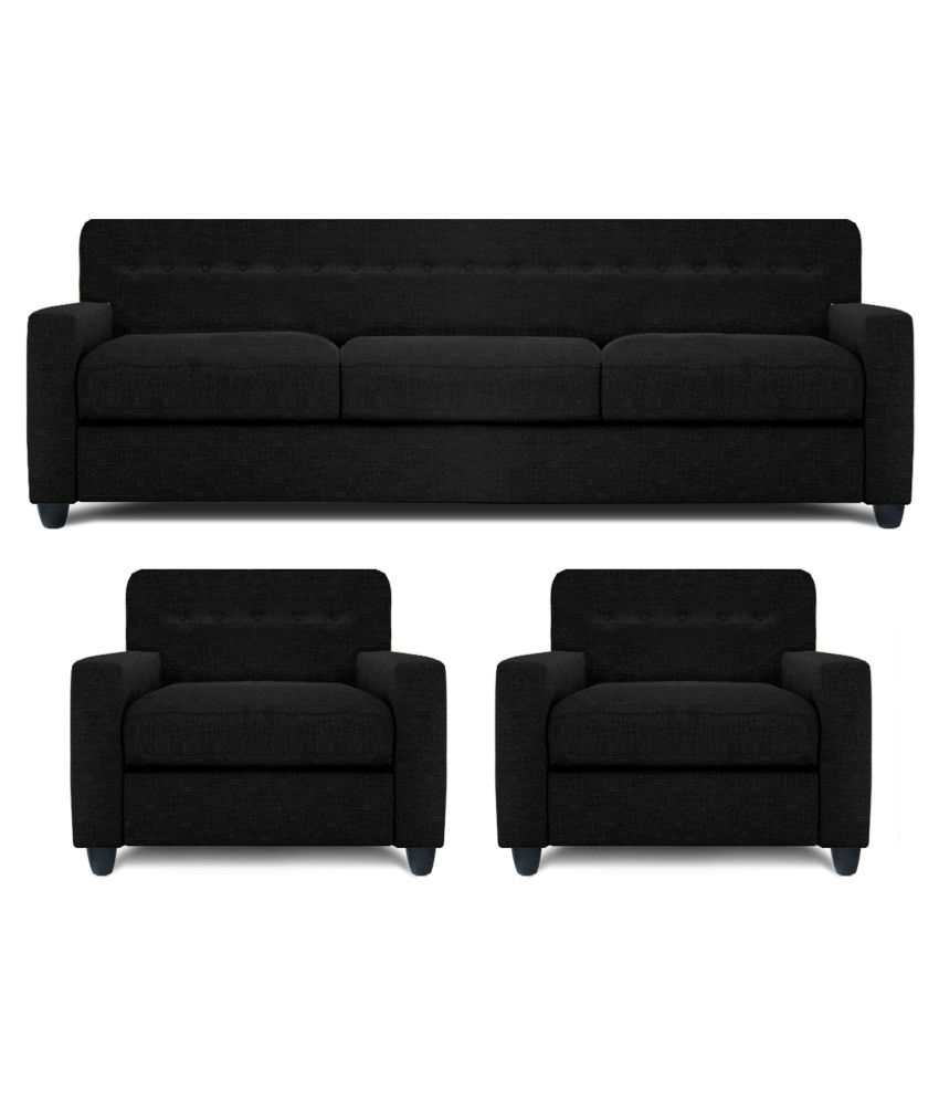Dolphin Solitaire Fabric 3+1+1 Seater Sofa Set- Black