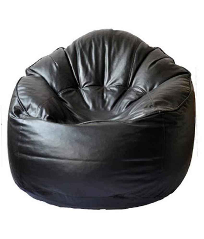 Sultaan Rexine Leather Black Bean Bag Cover Without Filler