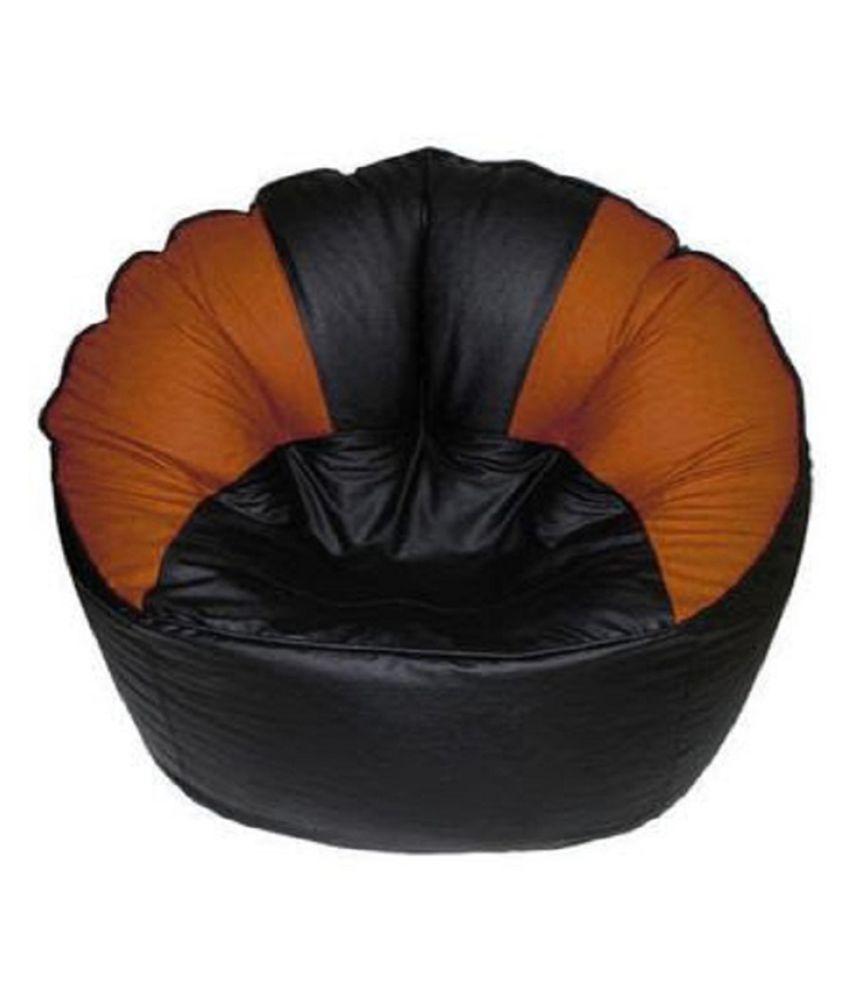 Sultaan Rexine Leather Mudda Black Amp Orange Bean Bag Cover