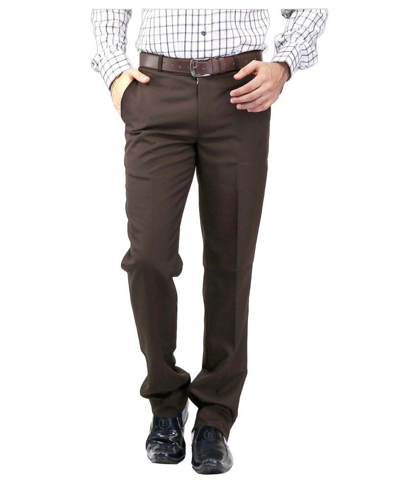 Strada Moda Coffee Regular -Fit Flat Trousers