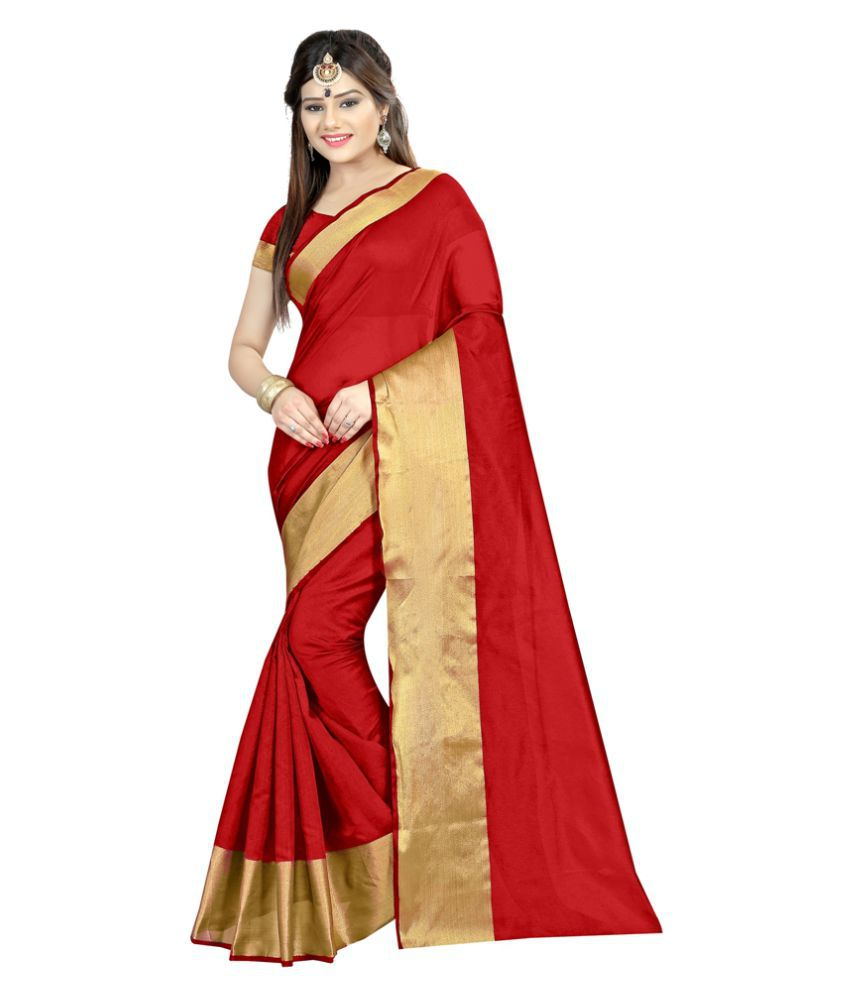 Radiance Star Red Cotton Silk Saree