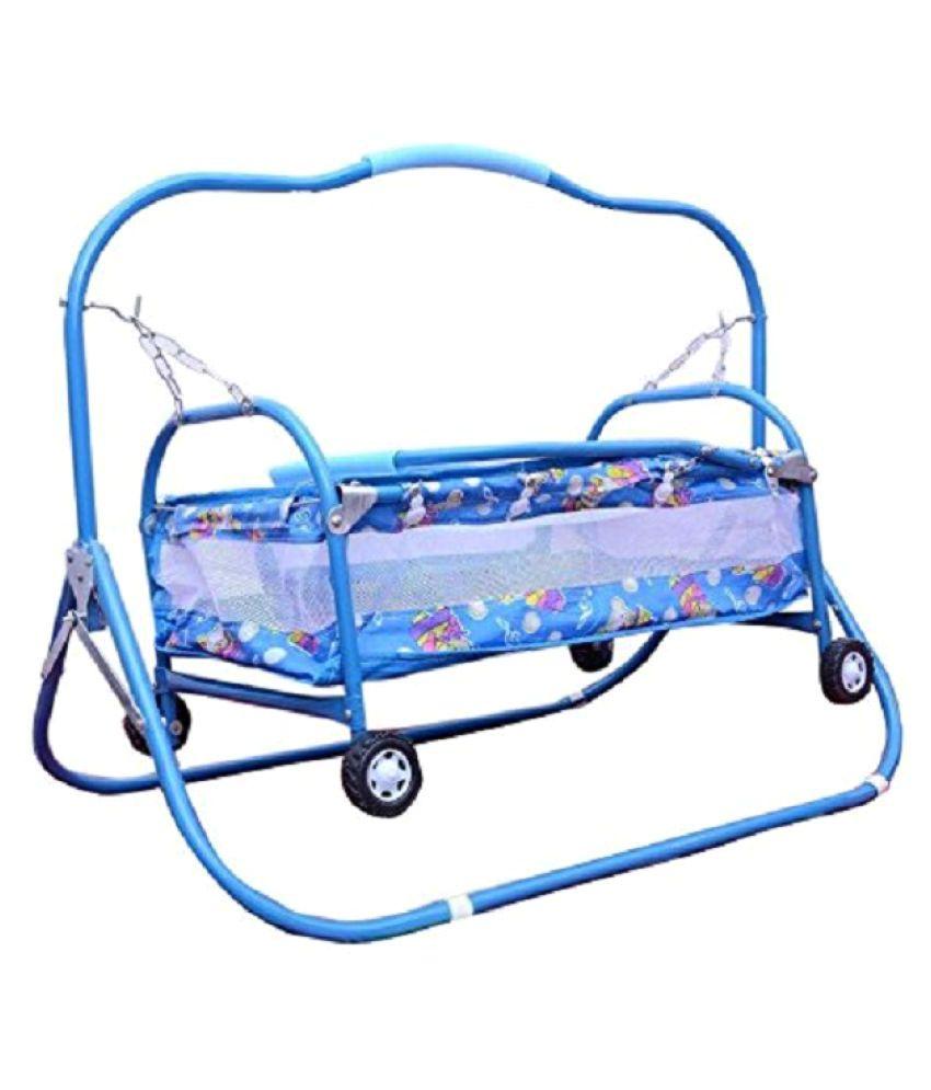 Taaza Garam Newborn Baby Cradle , Cot , Crib , Bassinet , Stroller And Swing baby boy Girl birthday Gift big jhoola blue