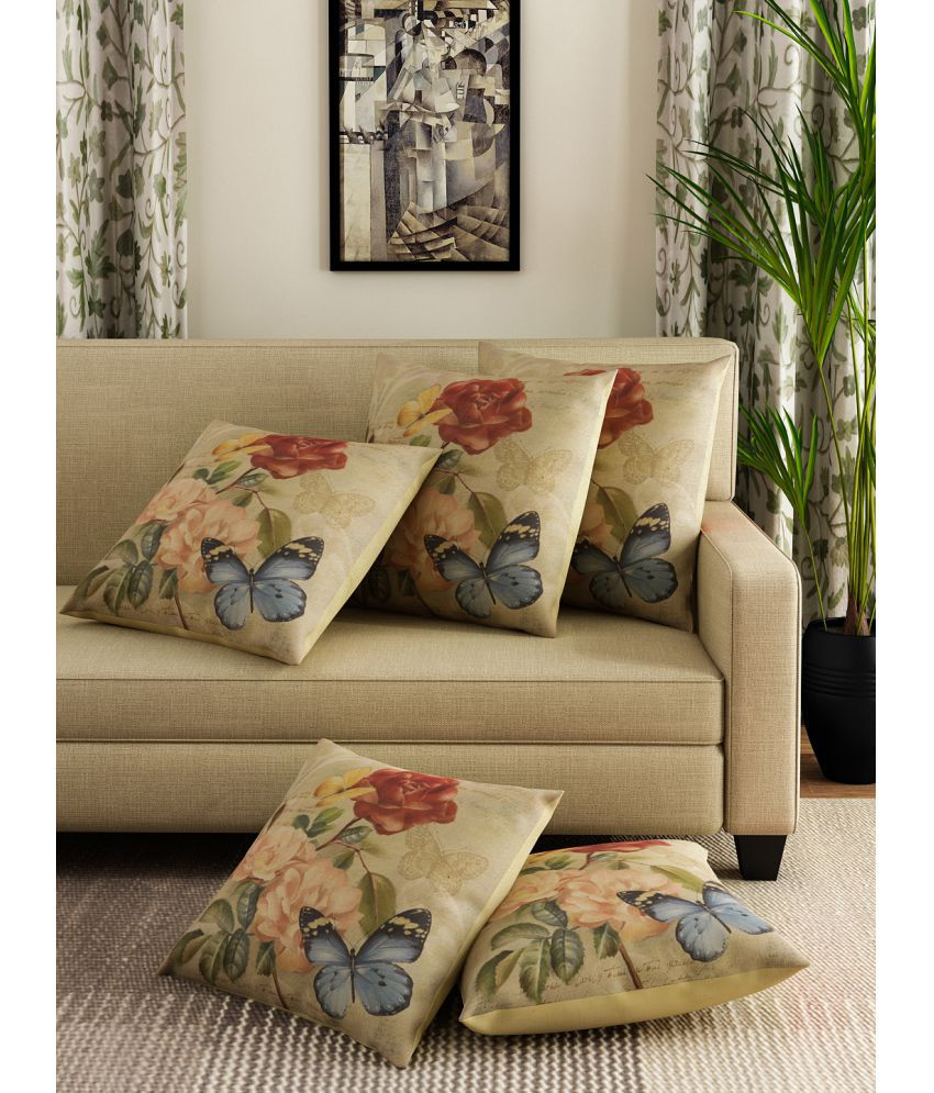Romee Set of 5 Polyester Cushion Covers 40X40 cm (16X16)