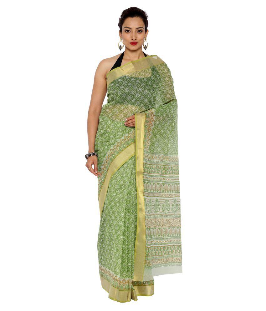 Platinum Green Cotton Blend Saree