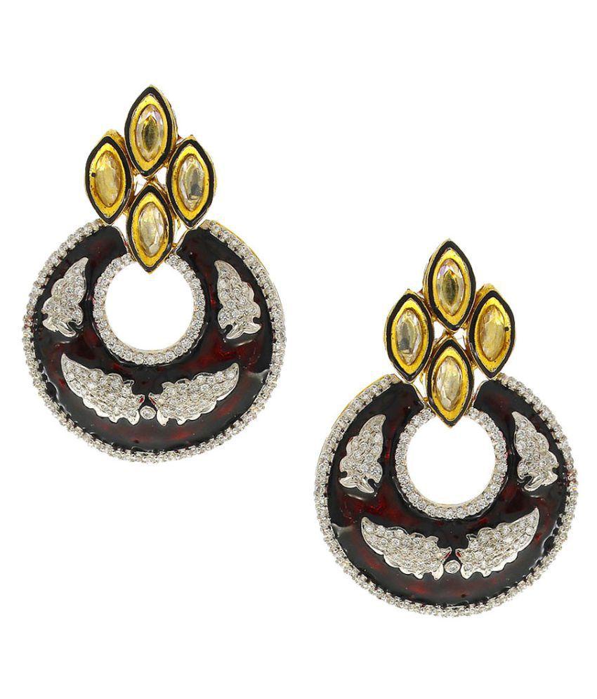 Anuradha Art Maroon Colour Chandbali Styled Wonderful Party Wear Long Earrings For Women/Girls