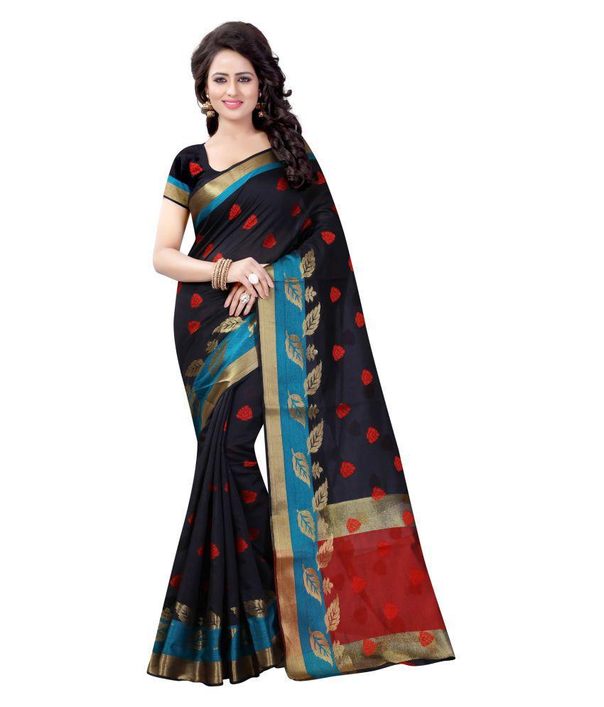 Dealsure Black Banarasi Silk Saree