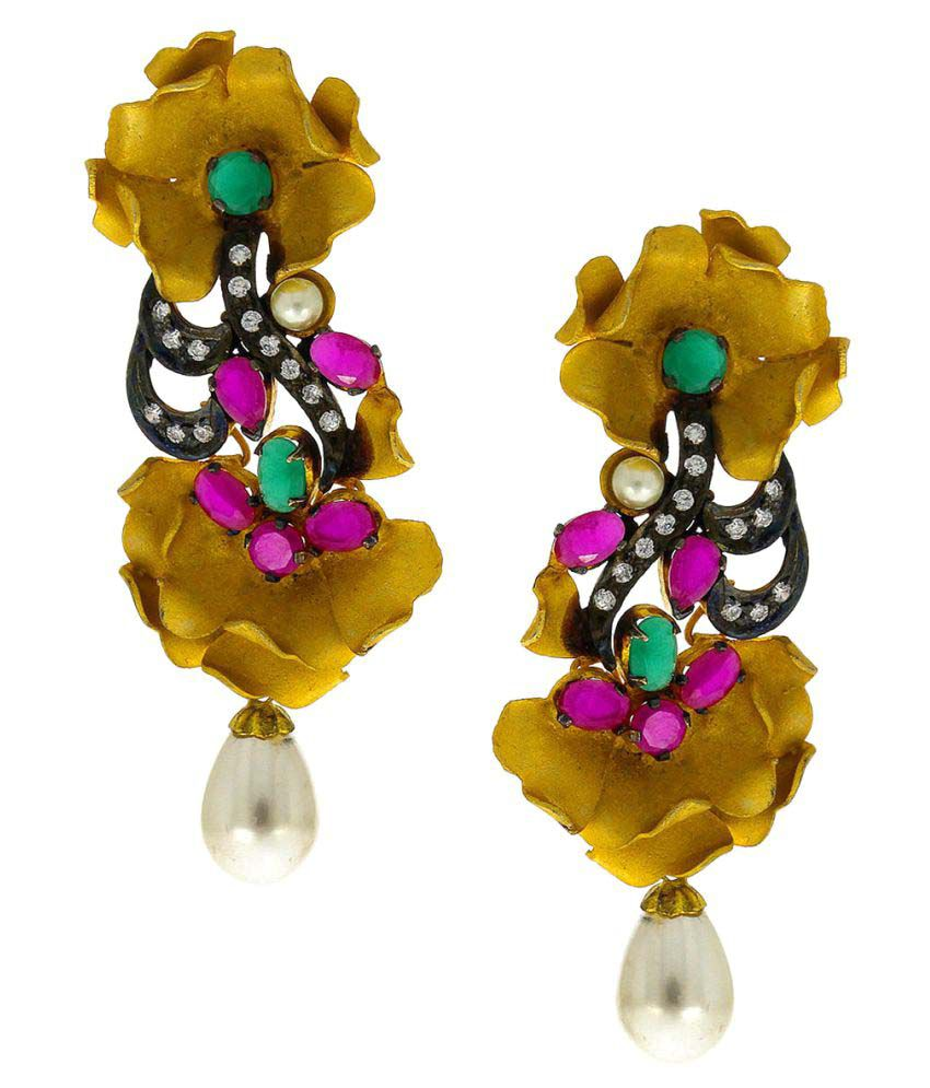 Anuradha Art Golden Colour Wonderful Pink-Green Colour Stone Party Wear Long Earrings For Women/Girls