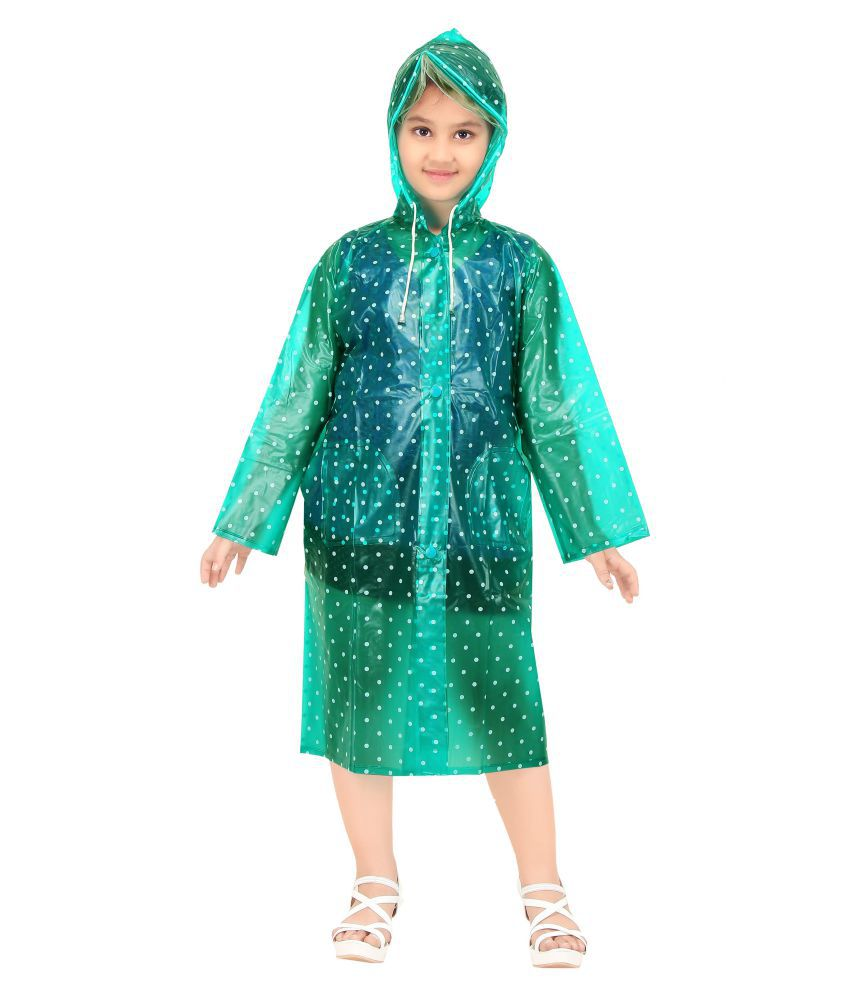 Goodluck Girls Dotted Pattern Full Sleeve Raincoat