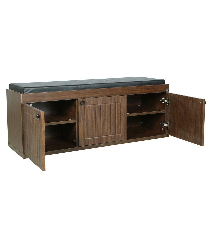 parin 3 door shoe rack with seat wood furniture buy parin 3 door rh snapdeal com