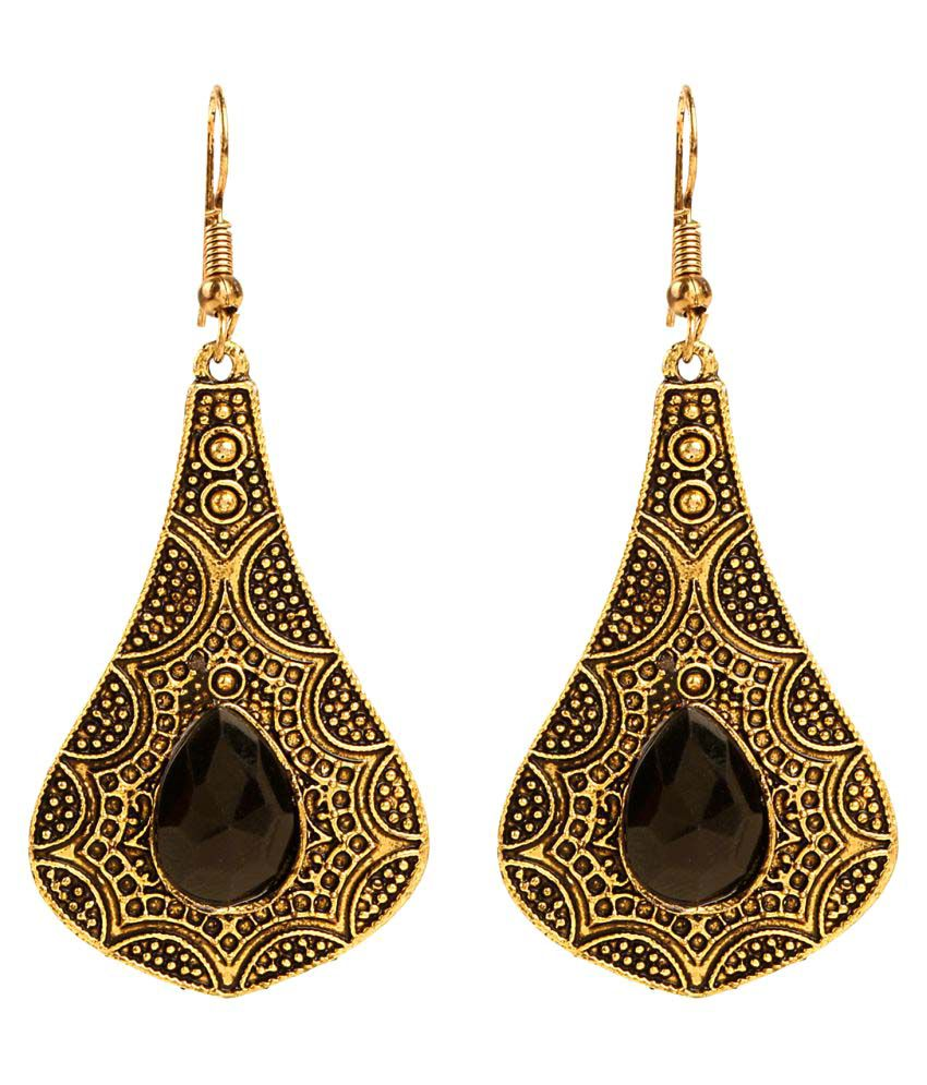 Archi Collection Oxidised Gold Plated Black Pearl Stylish Fancy Party Wear Dangler Earrings Jewellery for Girls and Women