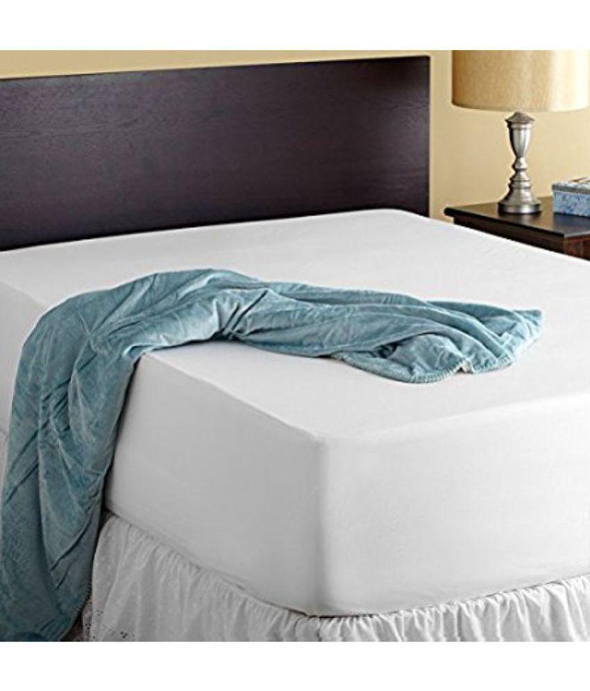avi king size waterproof white cotton mattress protector. Black Bedroom Furniture Sets. Home Design Ideas