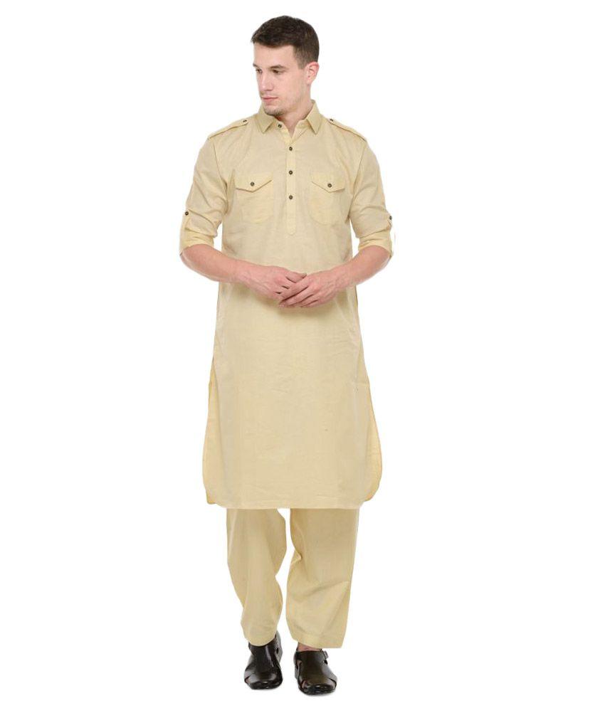 RG Designers Yellow Cotton Pathani Suit