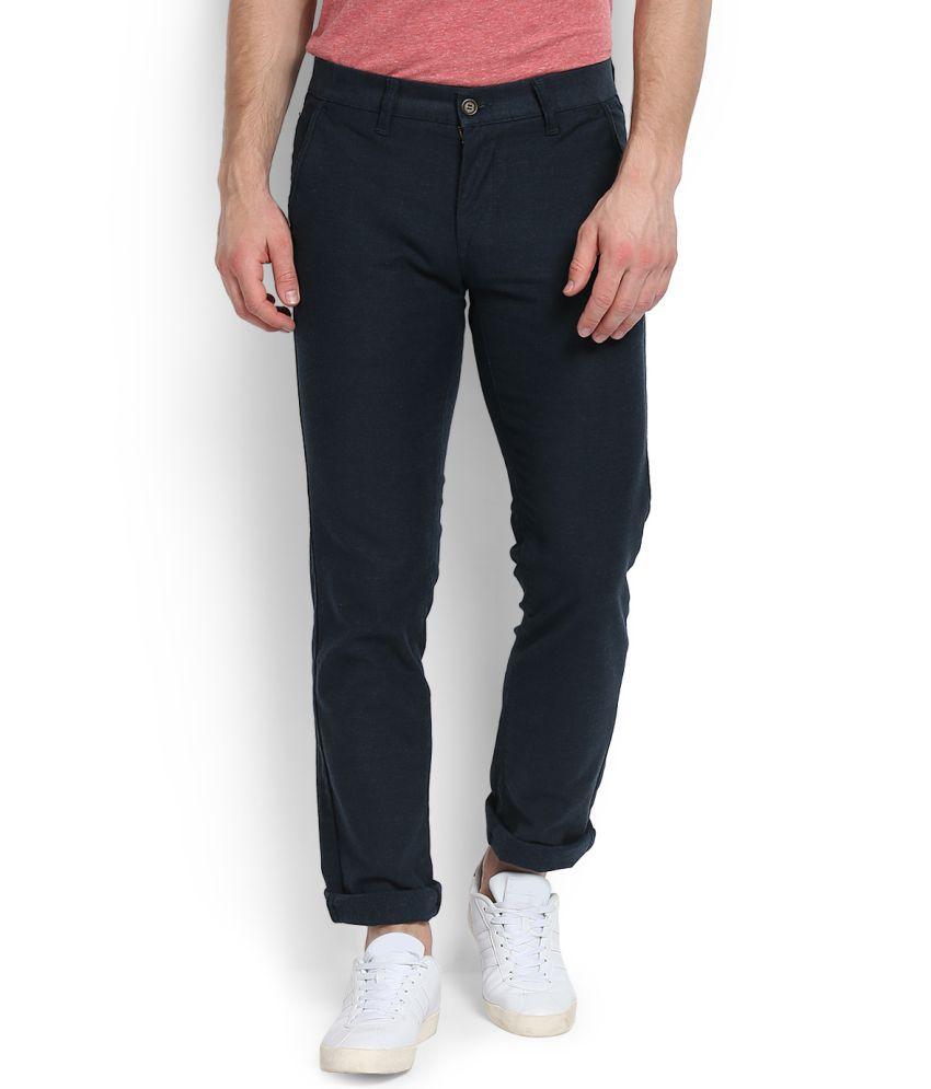 Integriti Navy Blue Slim -Fit Flat Trousers
