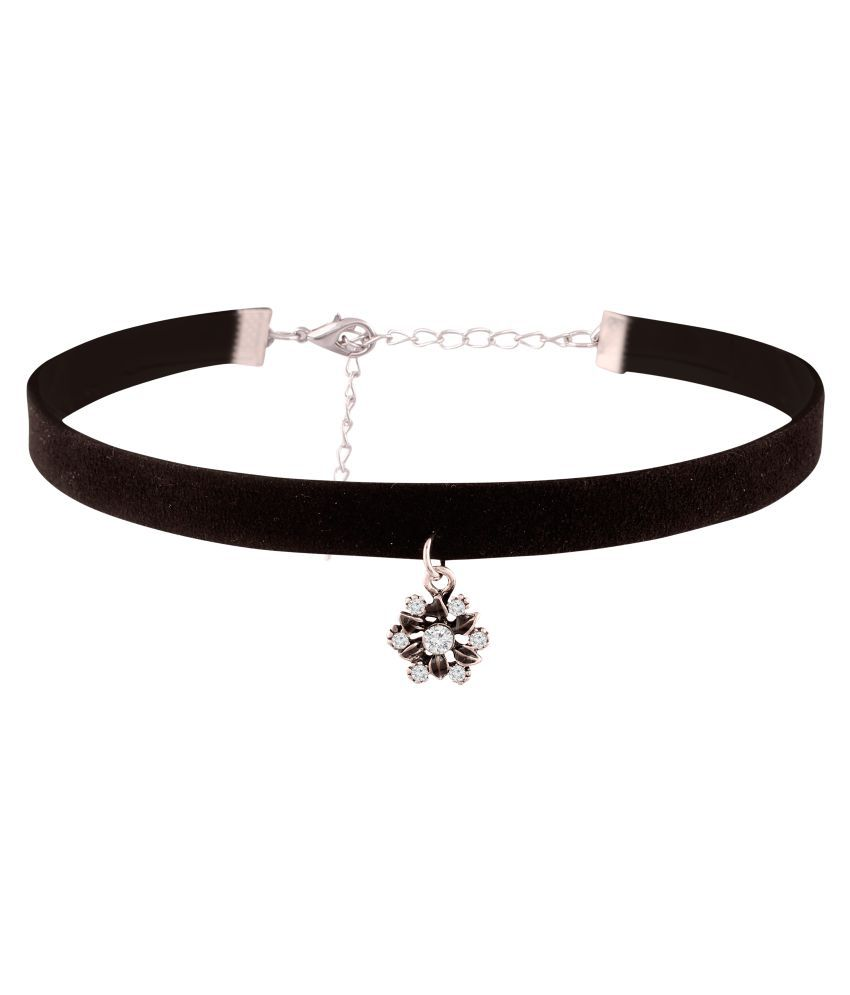 Jazz Jewellery Black Lace Choker with flower shape  pendant studded with stone Necklace for Women and Girls