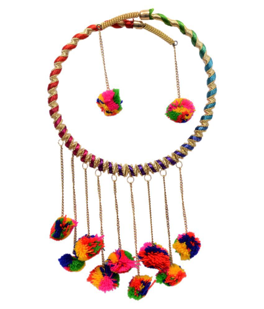 Mansiyaorange Designer  Latest Trendy Pom Pom Multi Color Necklace Set For Girls