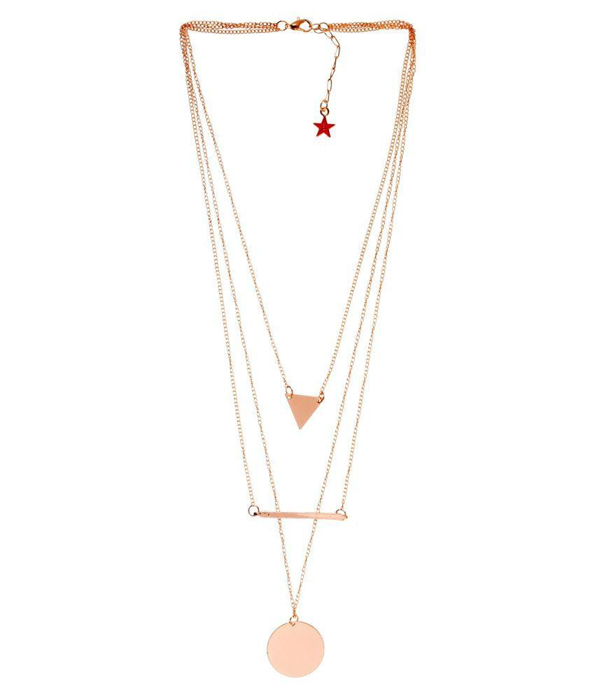 ayesha Gold-Toned Three Layered Pendant Necklace for Women