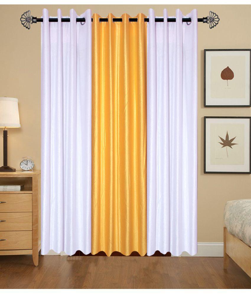 Akshaan Texo Fab Set of 3 Window Eyelet Curtains Plain Multi Color