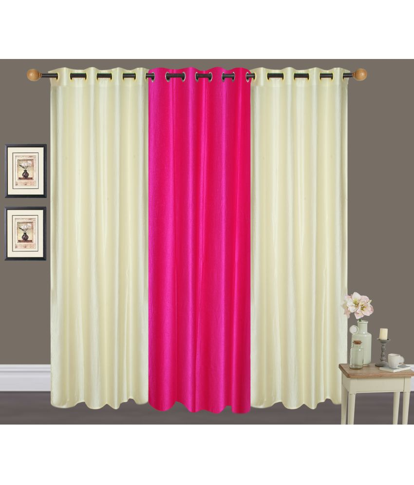 Akshaan Texo Fab Set of 3 Window Eyelet Curtains Plain Multi Color