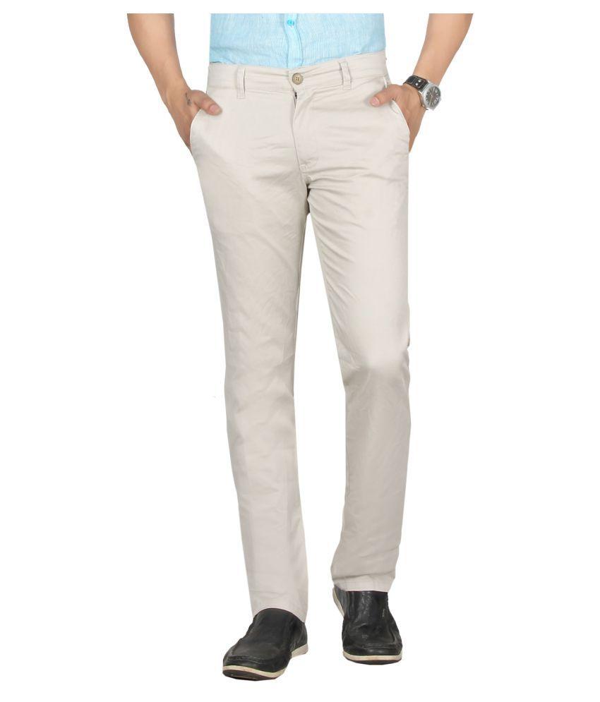 Dare Beige Regular -Fit Flat Trousers