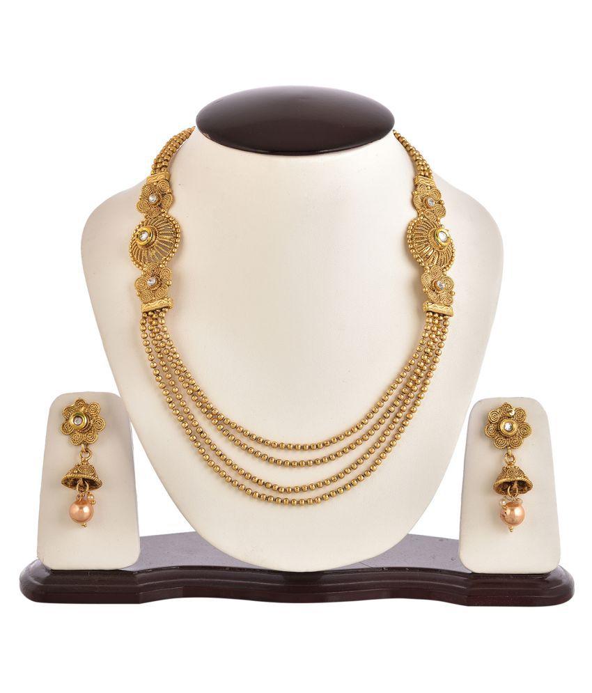 Zeneme floral style multi level golden beads Royal Necklace set