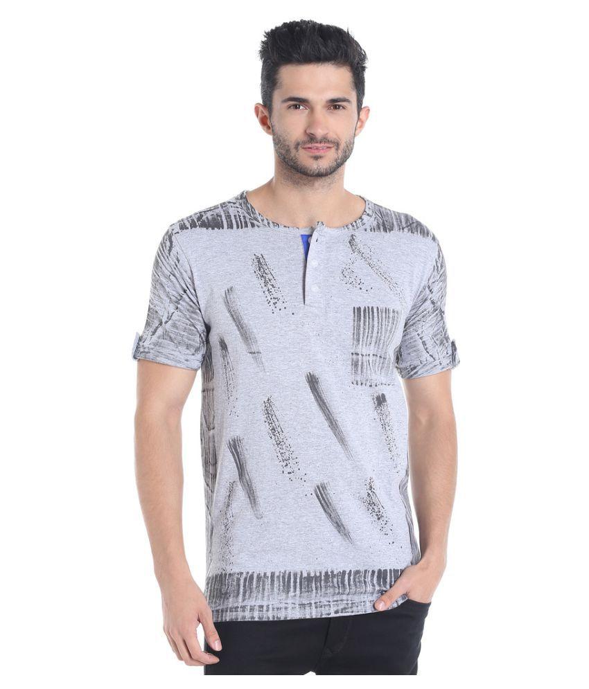 Campus Sutra Grey Henley T-Shirt