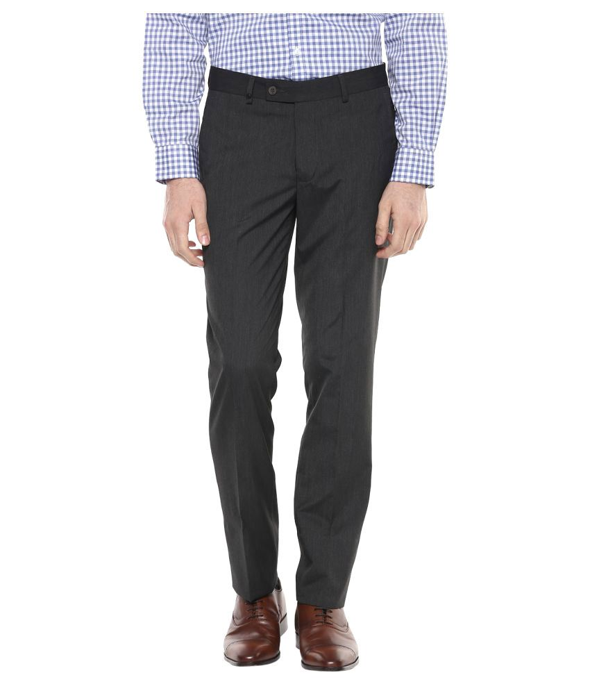 London Bridge Grey Slim -Fit Flat Trousers