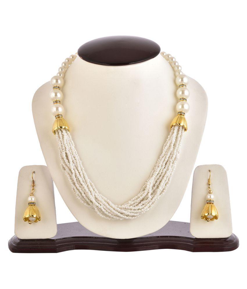 Zeneme Lustrous Pearl chain Opera Necklace set