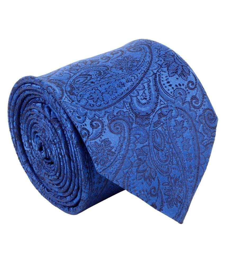 Cazzano Blue Printed Micro Fiber Necktie