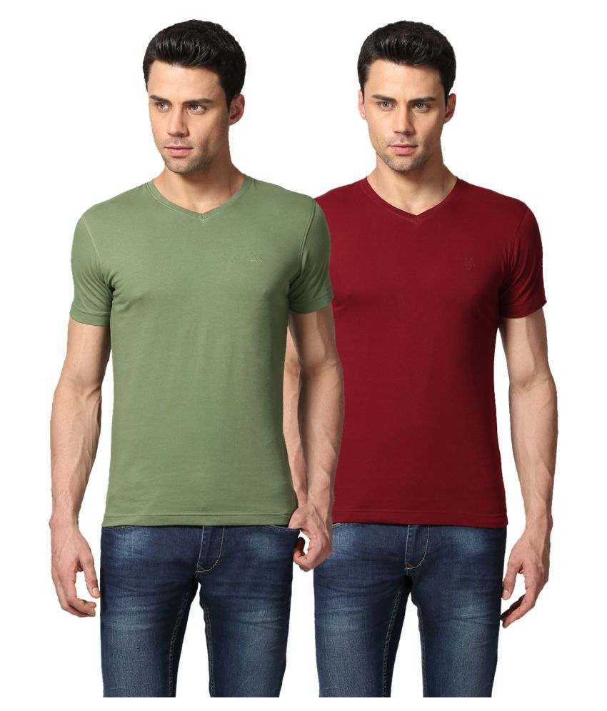 Goat Multi V-Neck T-Shirt Pack of 2