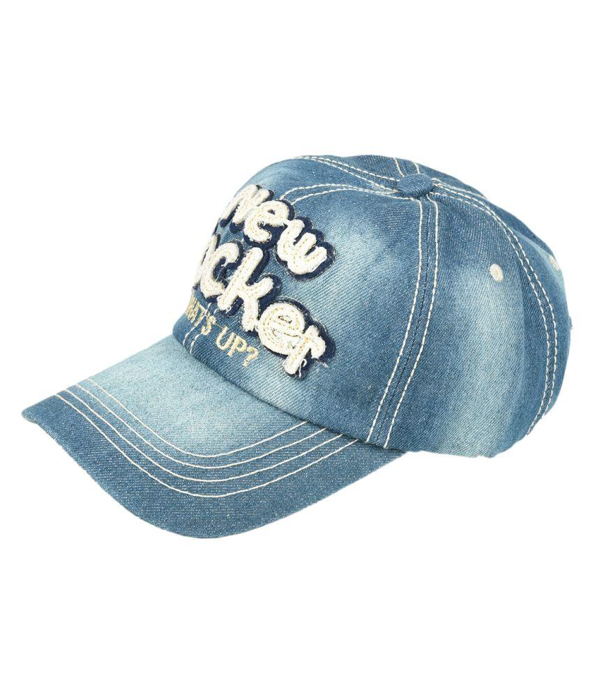 Tiekart Blue Plain Cotton Caps