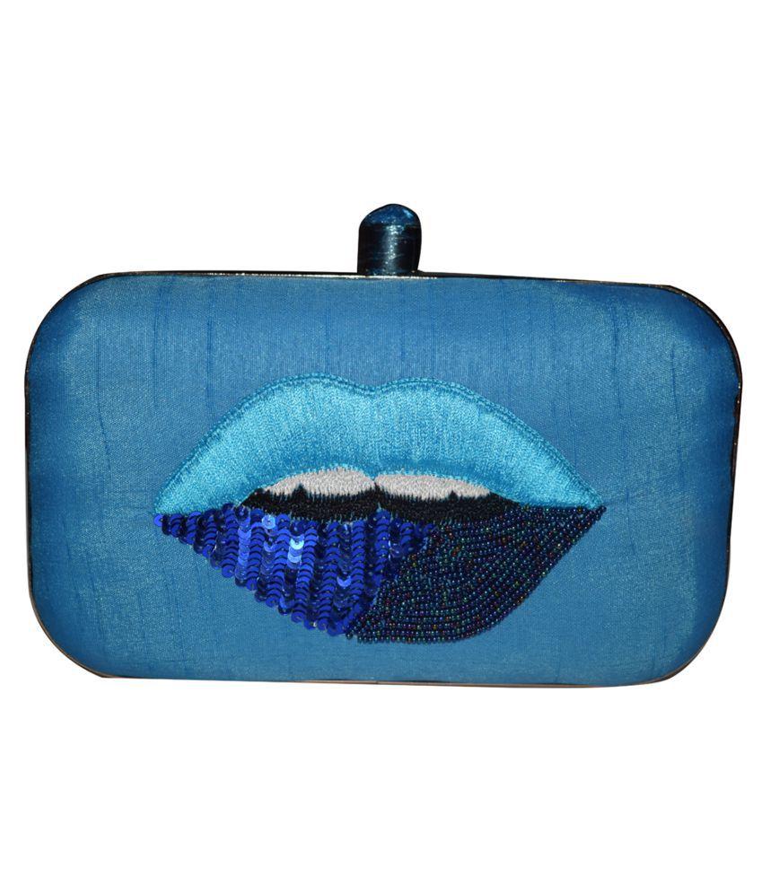 Fashlly Blue Silk Box Clutch