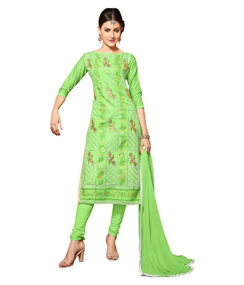 Maroosh Green Cotton blend Straight Semi-Stitched Suit