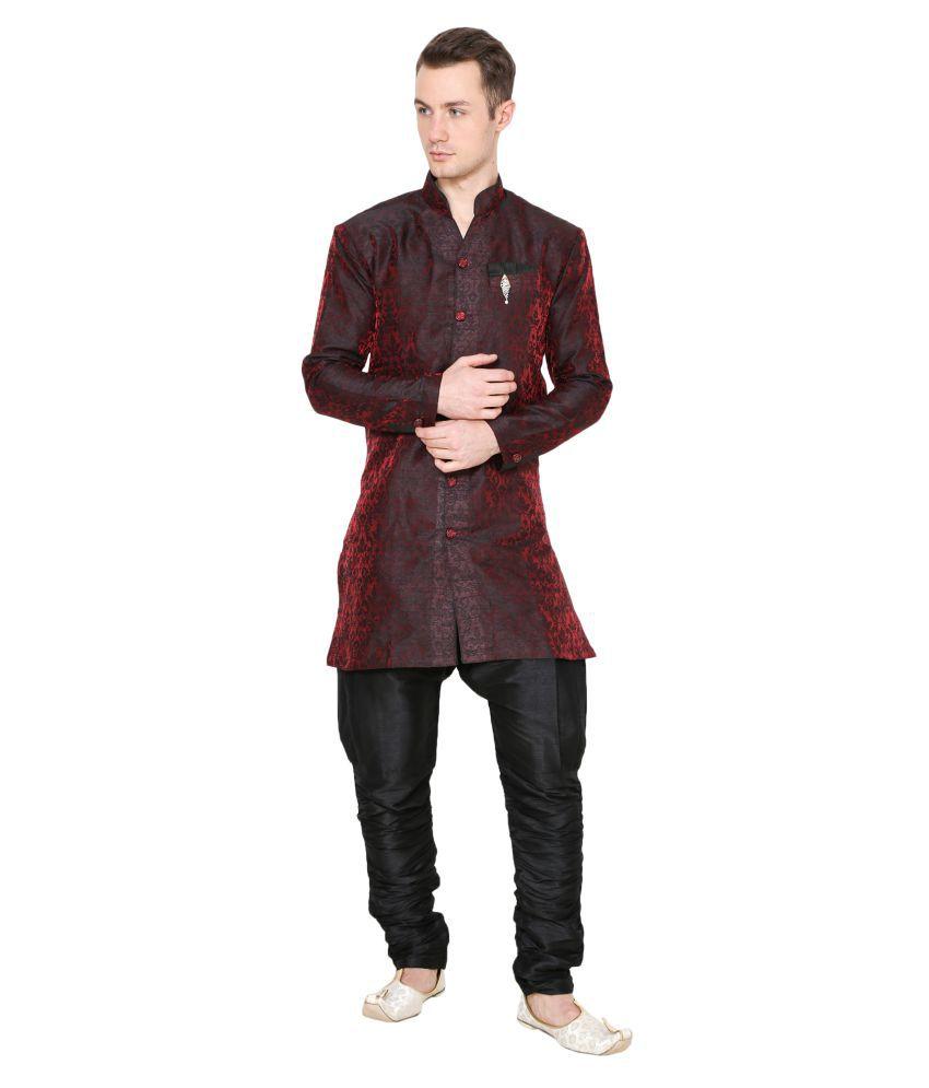 Amazing India Maroon Polyester Blend Sherwani