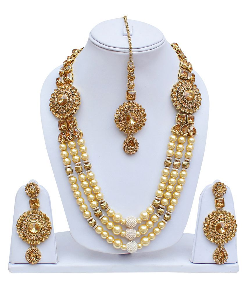 Lucky Jewellery, LCT Golden Multy Layered Pearl Designer Necklace Set