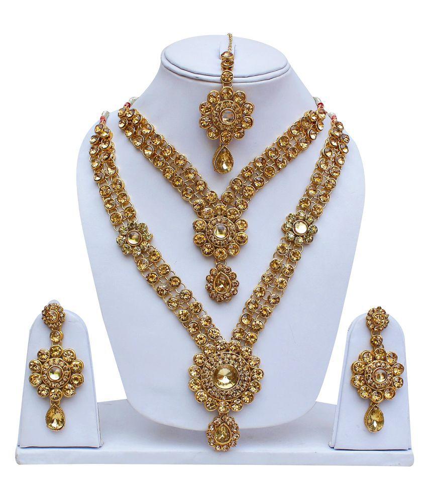 Lucky Jewellery, White Designer Double Necklace Earring Tikka Set