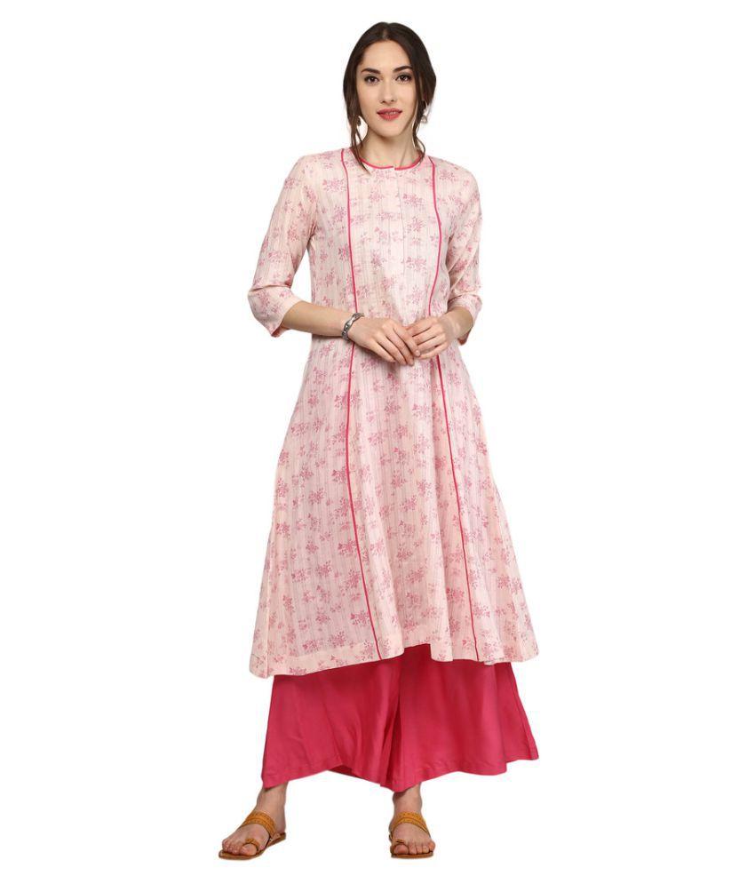 Sassafras Pink Cotton Anarkali Kurti