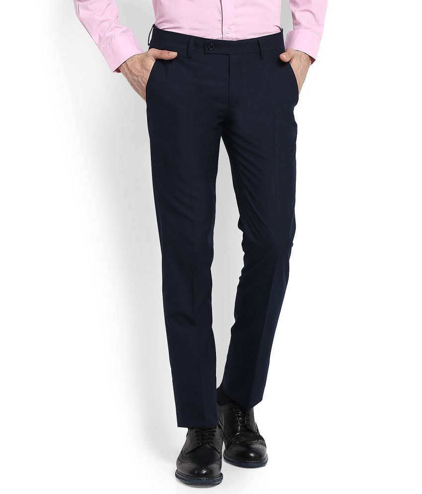 Arrow Navy Blue Slim -Fit Flat Trousers