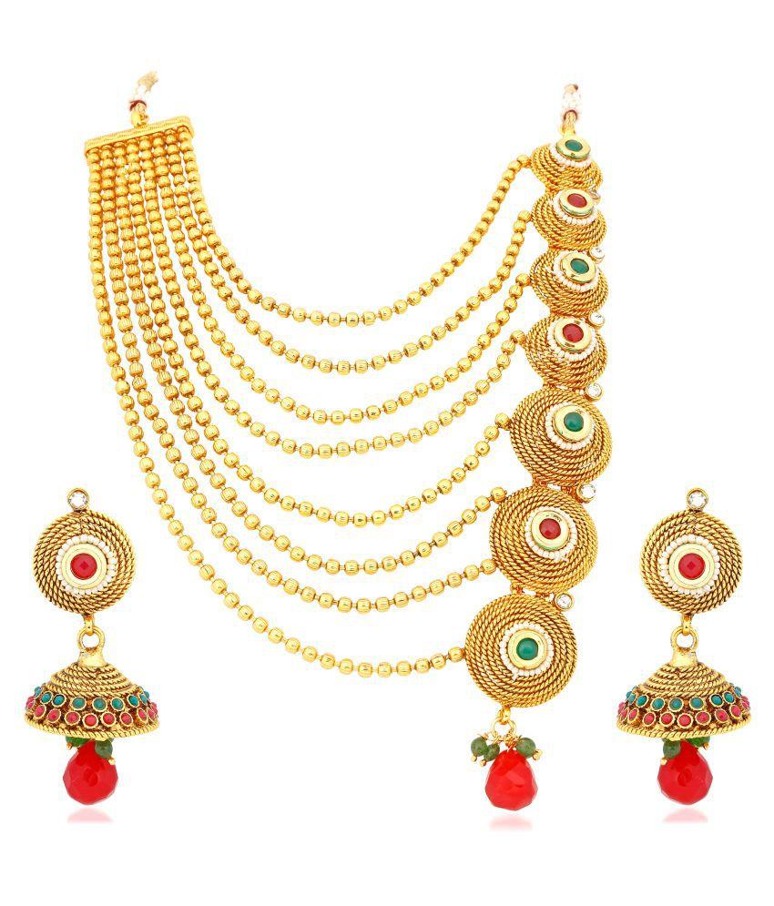 VShine Gold Plated Kundan Strings Necklace and Earrings Set for Women - VSNKG142SET