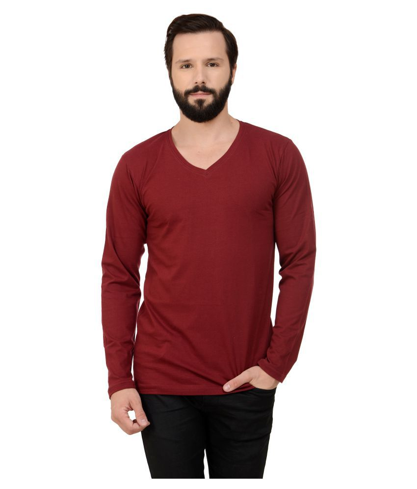 Stitch Studios Maroon V-Neck T-Shirt