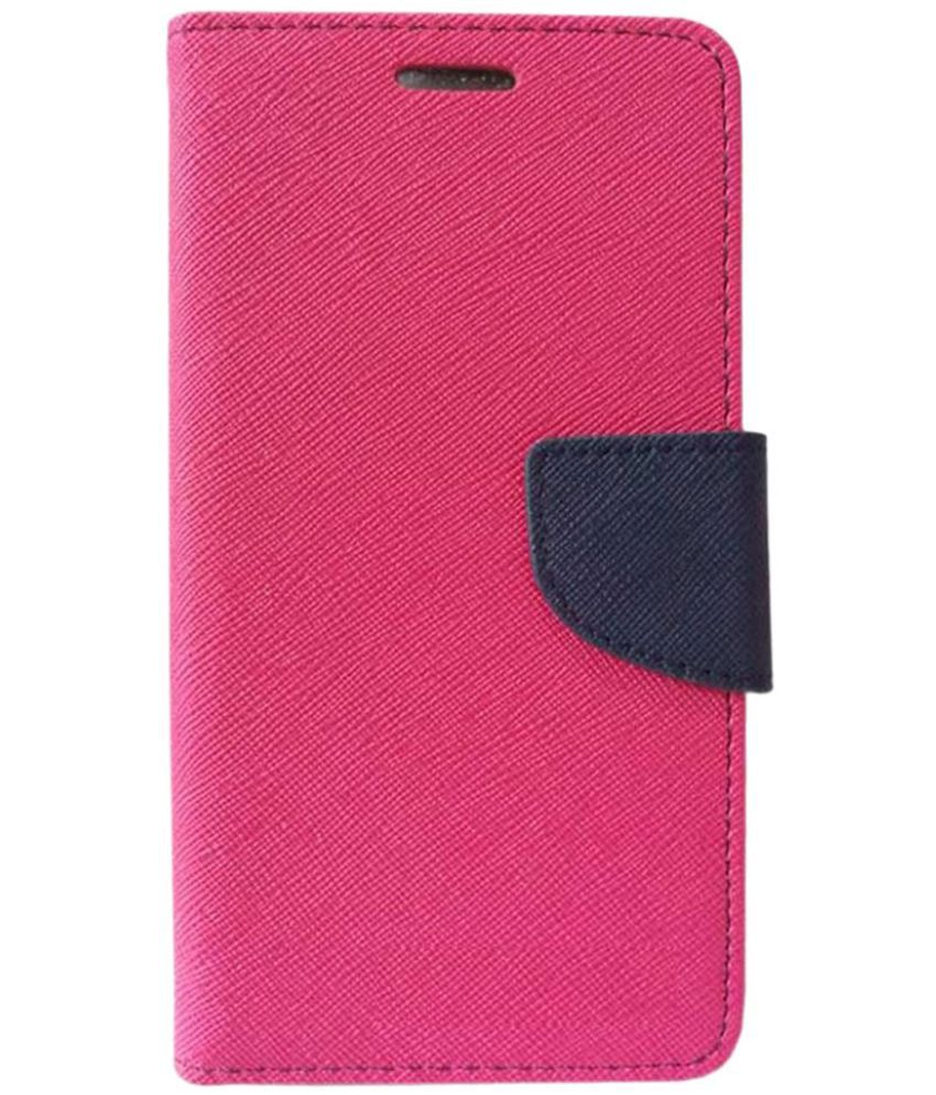Lyf Wind 4 Flip Cover by Kosher Traders - Pink