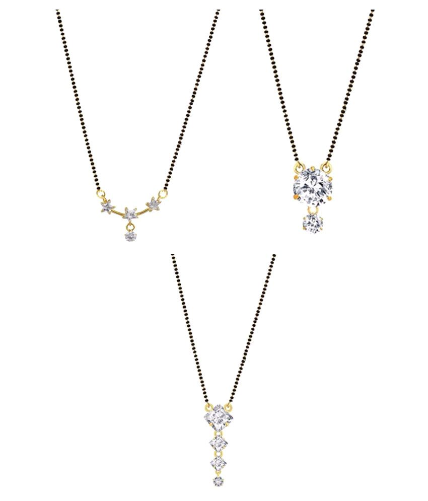 Archi Collection Jewellery Combo of Trendy Stylish Gold Plated American Diamond Mangalsutra Pendant for Women