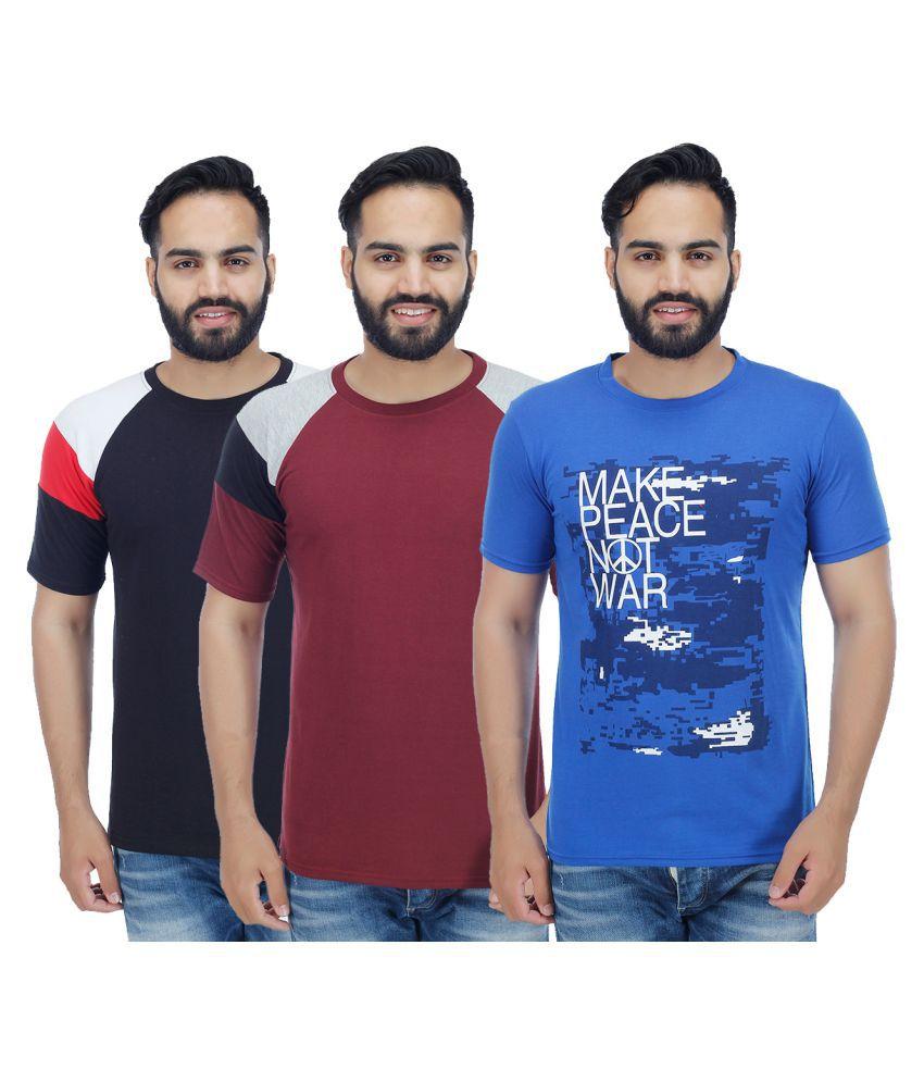 Sanvi Traders Multi Round T-Shirt Pack of 3