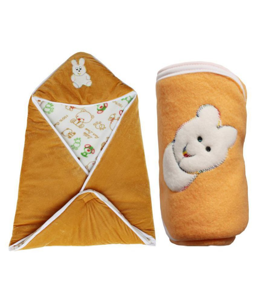 My NewBorn Orange Velvet Baby Wrap cum blanket ( 83 cm × 96 cm - 2 pcs)