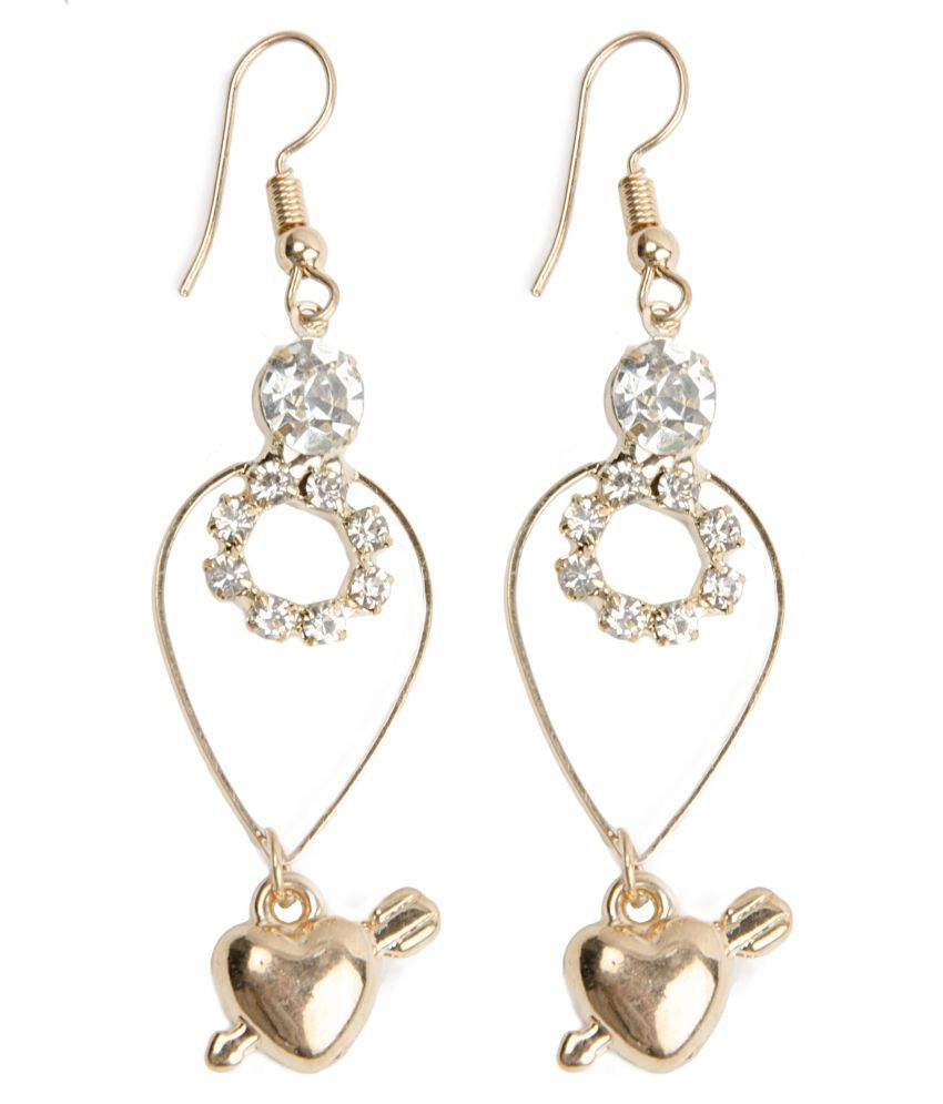 kamsun gold heart women ear rings