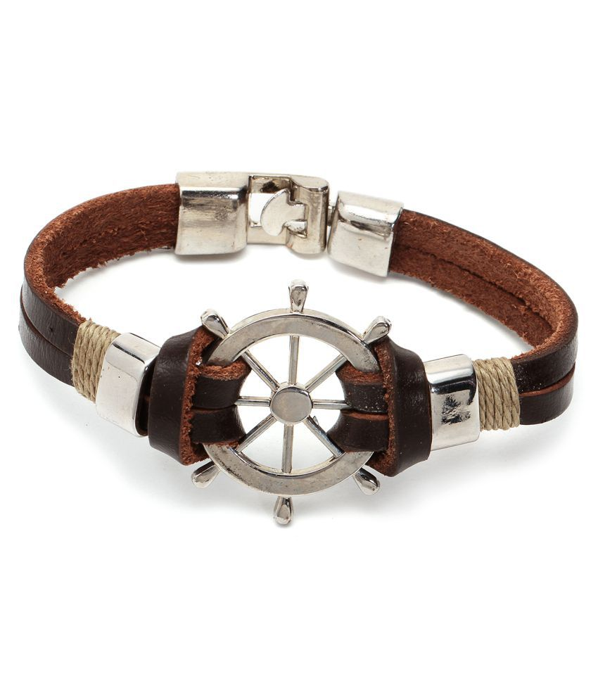 Chkokko Latest the ship's wheel Shape Brown Color Bracelet for Men