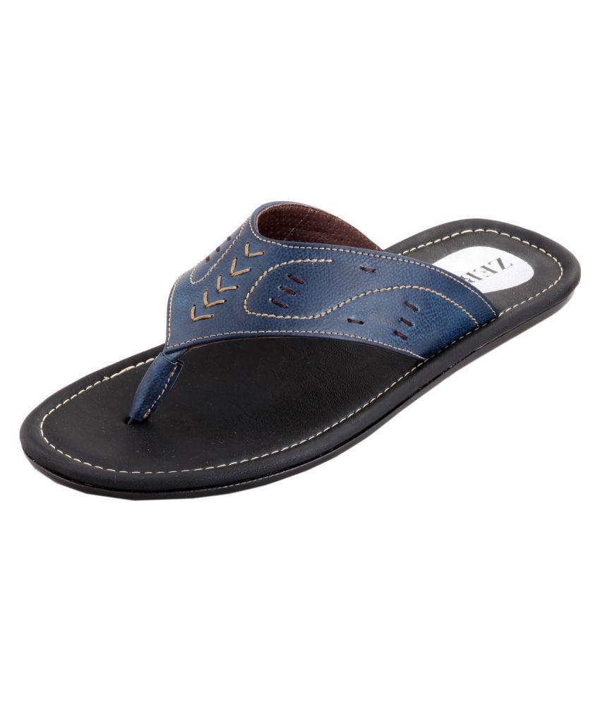 Zebra ZF-0024040 Blue Leather Slippers