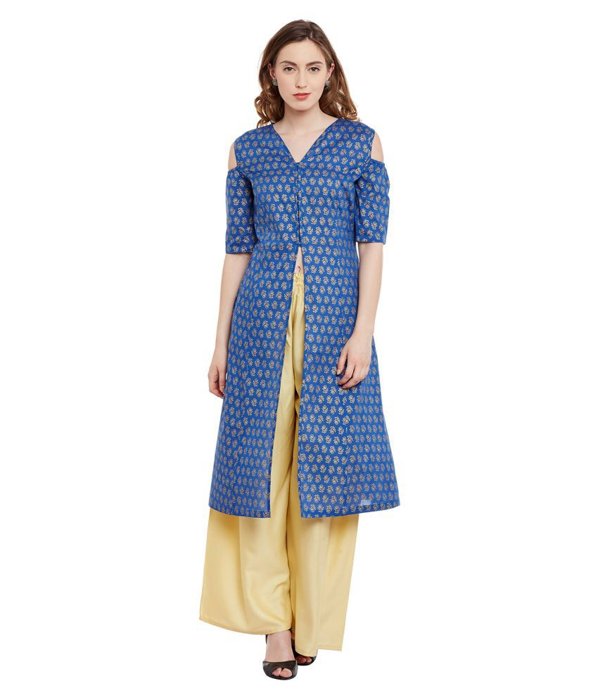 BGI Blue Cotton Front Slit Kurti
