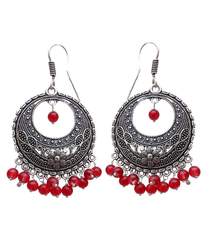 Lucky Jewellery Designer Jaipuri Black Metal Silver Oxidised Maroon Earring In Color Sutiable For